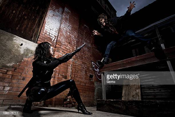 vampire and werewolf battle - werewolf stock photos and pictures