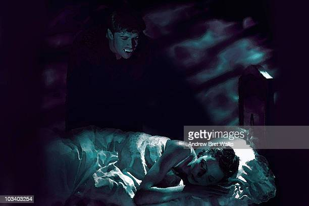vampire at a young woman's bedside at night