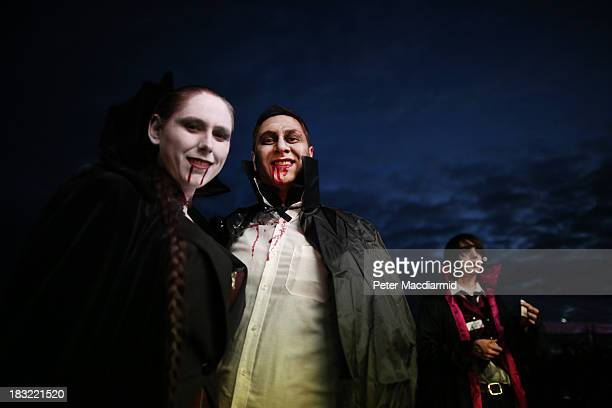 A vampire couple wait for a snack at the Shocktober Fest at Tulleys Farm on October 5 2013 near Crawley West Sussex Each October thousands attend the...