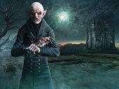 Vampire scene 3D illustration