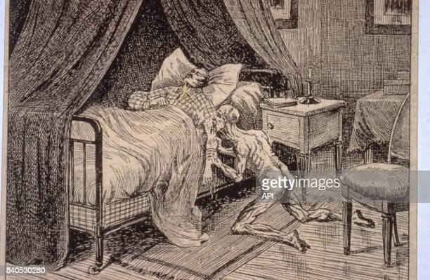 Vampire suçant le sang de sa victime illustration du livre 'La vie mysterieuse' publié en 1910