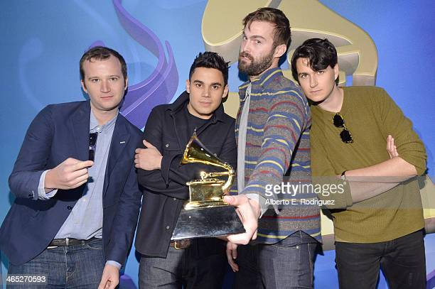 Vampire Weekend Chris Baio Rostam Batmanglij Chris Tomson and Ezra Koenig attend the 56th GRAMMY Awards PreTelecast at Nokia Theatre LA Live on...