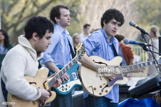 Vampire Weekend performs at Pocket Park at The LBC Quad on Tulane University in New Orleans Louisiana on March 11 2008 This indie rock band is Ezra...