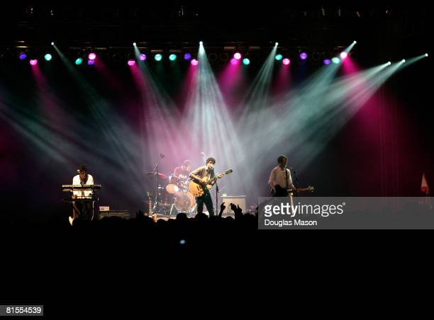 Vampire Weekend performs at the 2008 Bonnaroo Music and Arts Festival on June 12 2008 in Manchester Tennessee