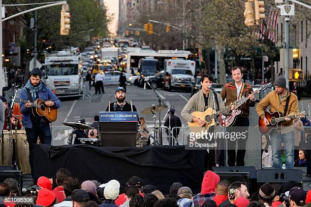 Vampire Weekend performs onstage at a campaign event for Democratic presidential candidate US Senator Bernie Sanders at Washington Square Park on...