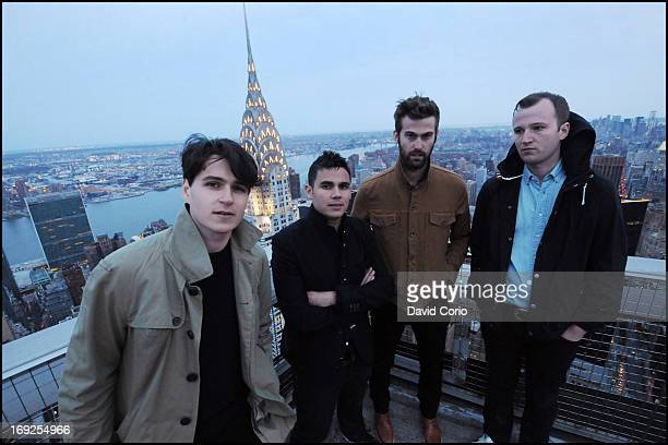 Vampire Weekend pose for a group portrait session on the roof of the on the MetLife Building in New York on 29th April 2013 Left to right Ezra Koenig...