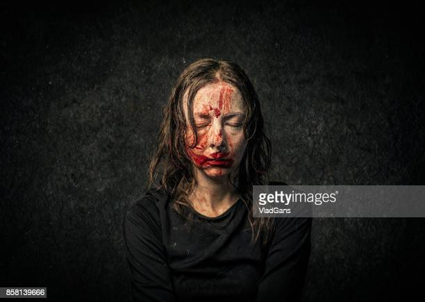 vampire woman - bloody death stock pictures, royalty-free photos & images