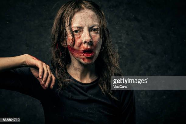 vampire woman - zombie face stock photos and pictures