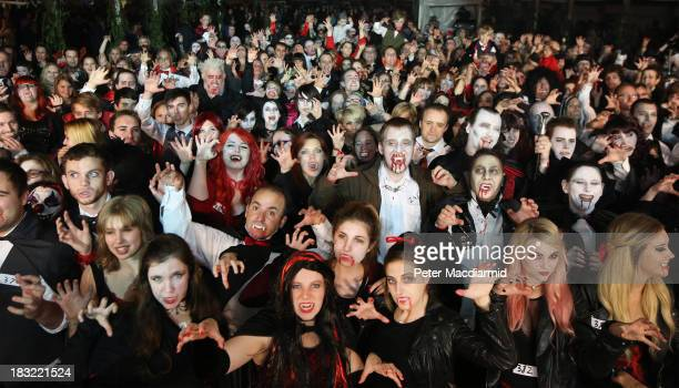 Vampires gather in a world record attempt at the Shocktober Fest at Tulleys Farm on October 5 2013 near Crawley West Sussex Each October thousands...