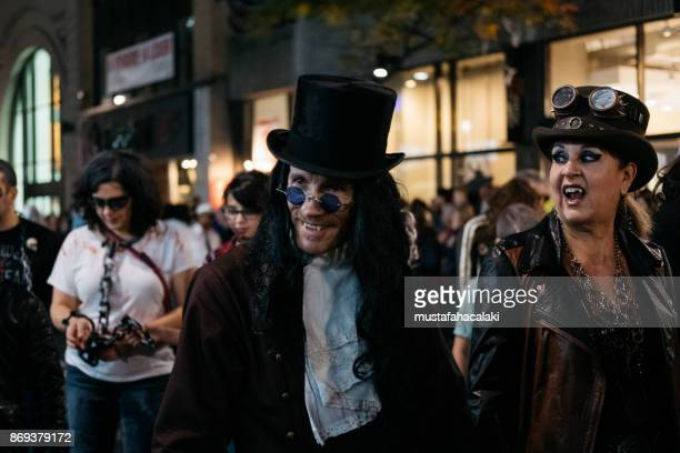 vampires in montreal zombie walk - count dracula stock photos and pictures