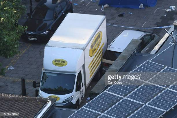 A van believed to be involved in an incident near Finsbury Park Mosque in which the van ploughed into pedestrians is pictured on June 19 2017 in...