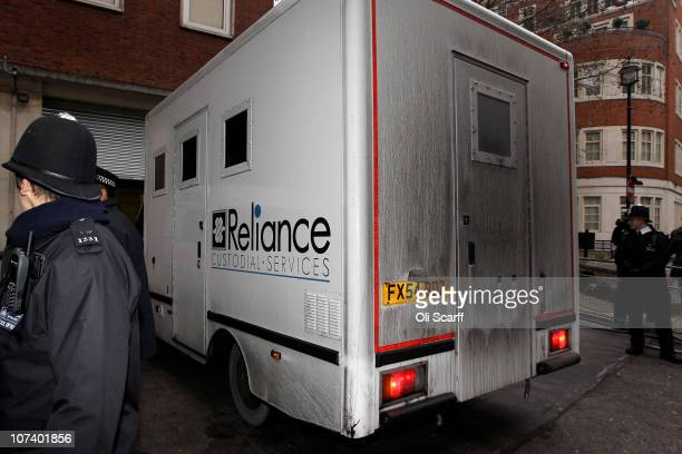 A van believed to contain Shrien Dewani arrives at the City of Westminster Magistrates Court on December 8 2010 in London England South African...