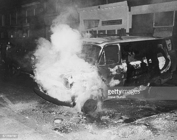 A van burning during a night of rioting in Brixton London 16th July 1981