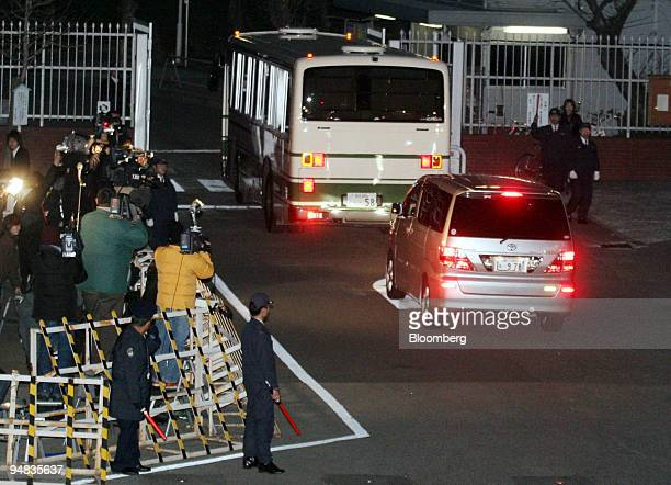 A van carrying Fumito Kumagai Livedoor's former representative director enters Tokyo Detention Centre in Tokyo Japan Wednesday February 22 2006...