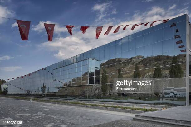 van castle reflection on the glass facade of van museum. - emreturanphoto stock pictures, royalty-free photos & images