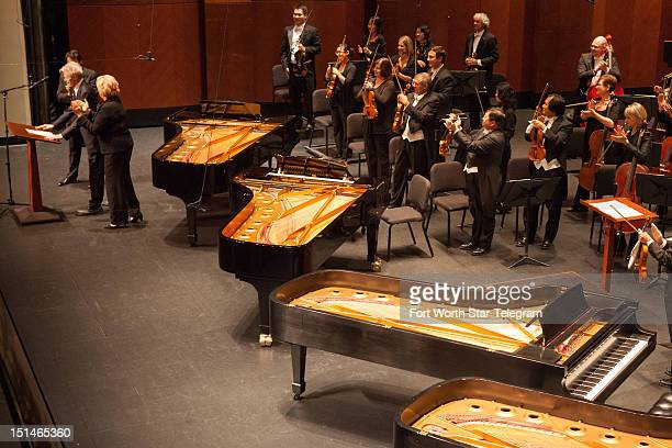 Van Cliburn left takes the stage prior to his 50th anniversary concert in Dallas Texas on September 6 2012