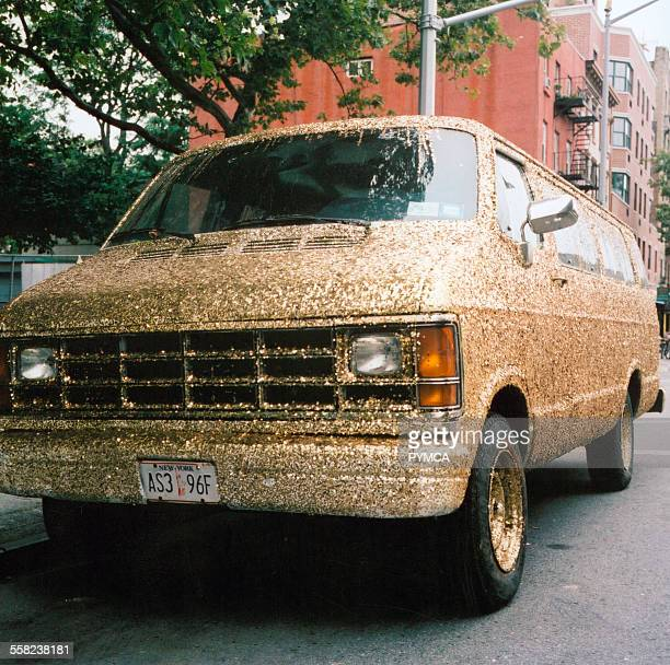 Van decorated in gold glitter USA