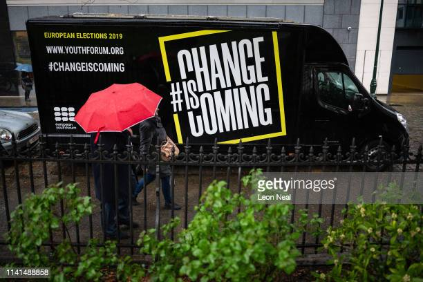 A van decorated with slogans promoting the European Youth Forum and it's role in the upcoming European elections is seen on April 09 2019 in Brussels...