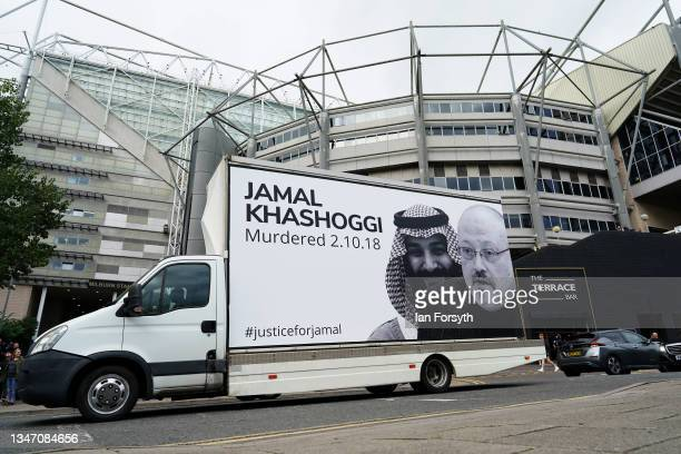 Van depicting Jamal Khashoggi drives past St James' Park as Newcastle United have their first game following the club's takeover on October 17, 2021...