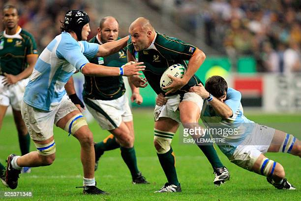 Van Der Linde during the IRB World Cup rugby match semi final between South Africa and Argentina.   Location: Saint Denis, France.