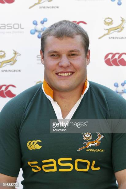 Van der Linde is seen during a photo shoot for the South African rugby union squad with the new SASOL jersey at Newlands, on September 28, 2004 in...