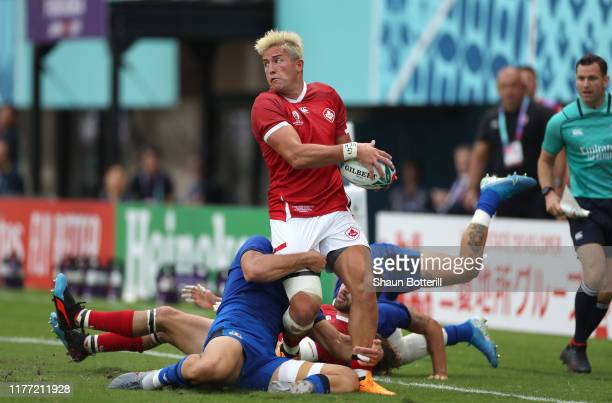 Van Der Merwe of Canada breaks tthrough the Italy defence during the Rugby World Cup 2019 Group B game between Italy and Canada at Fukuoka...