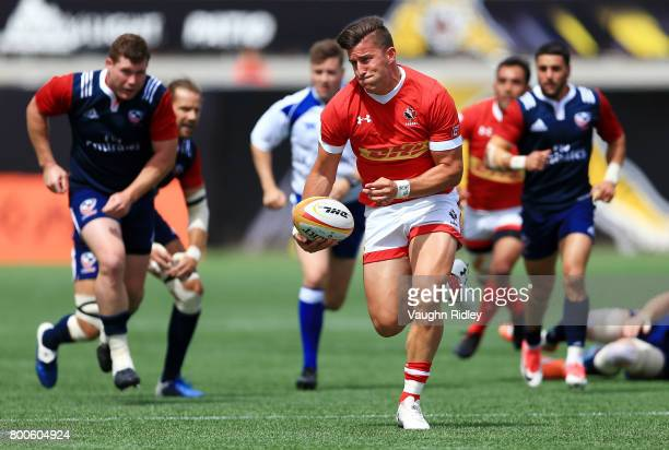 Van Der Merwe of Canada runs in his second try in the first half of a Rugby World Cup 2019 Qualifier match against the USA at Tim Hortons Field on...