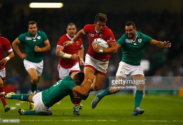 Van Der Merwe of Canada tries to break through the tackle of Conor Murray of Ireland during the 2015 Rugby World Cup Pool D match between Ireland and...