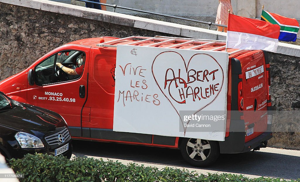 A van displays a sign ahead of the Royal Wedding of Prince Albert II of Monaco to Charlene Wittstock on June 30, 2011 in Monaco. The civil ceremony will take place in the Throne Room of the Prince's Palace of Monaco on July 1, followed by a religious ceremony to be conducted in the main courtyard of the Palace on July 2. With her marriage to the head of state of Principality of Monaco, Charlene Wittstock will become Princess consort of Monaco and gain the title, Princess Charlene of Monaco. Celebrations including concerts and firework displays are being held across several days, attended by a guest list of global celebrities and heads of state.