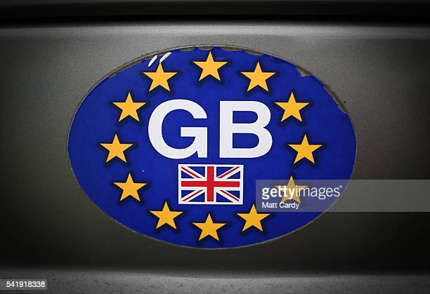 A van displays GB initials printed on the European Union flag near Glastonbury on June 20 2016 in Glastonbury Somerset England The UK goes to the...