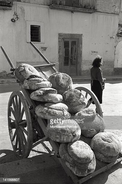 A van distributing bread in the old town centre of San Giovanni Rotondo Italy