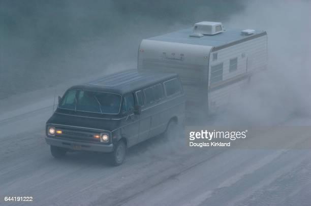 Van Driving Through Mount St. Helens Ash