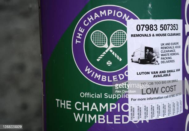 Van for hire sign covers a Wimbledon Championship logo on June 29 2020 in Wimbledon England The Wimbledon Tennis Championships were due to start...