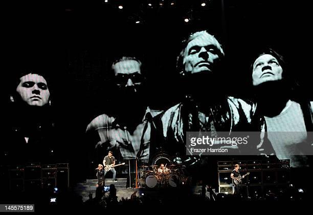 Van Halen David Lee Roth Eddie Van Halen Alex Van Halen and Wolfgang Van Halen perform on stage as part of their 2012 North American tour at Staples...