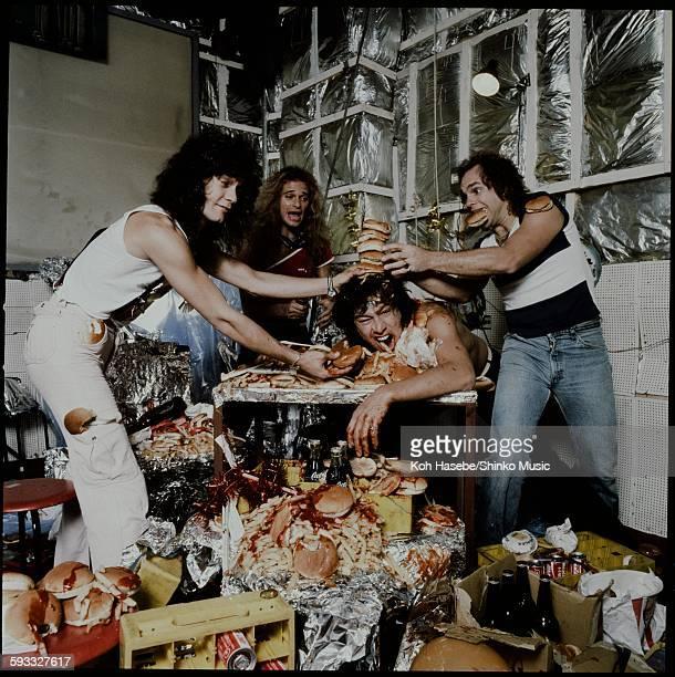 Van Halen having a crazy party eating hamburgers and potatoes Tokyo September 1979