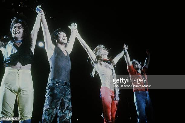 Van Halen live at Nippon Budokan making greetings after the show Tokyo September 1979