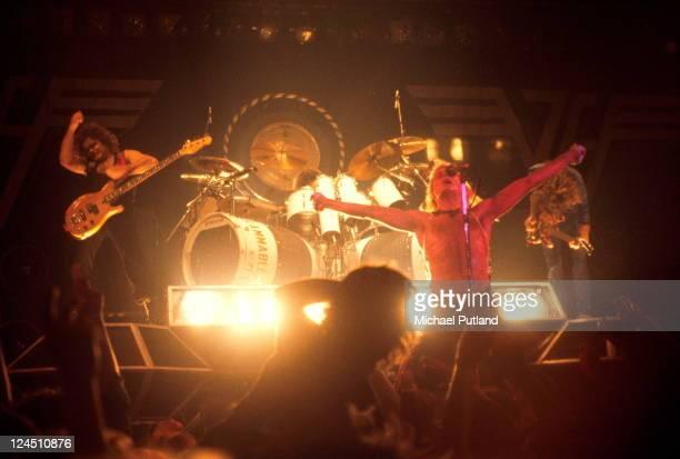 Van Halen perform on stage De Montfort Hall Leicester UK LR Michael Anthony David Lee Roth Eddie Van Halen