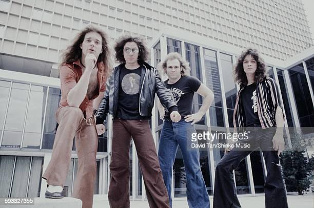 Van Halen posing in Houston in the United States, April 14th, 1978.