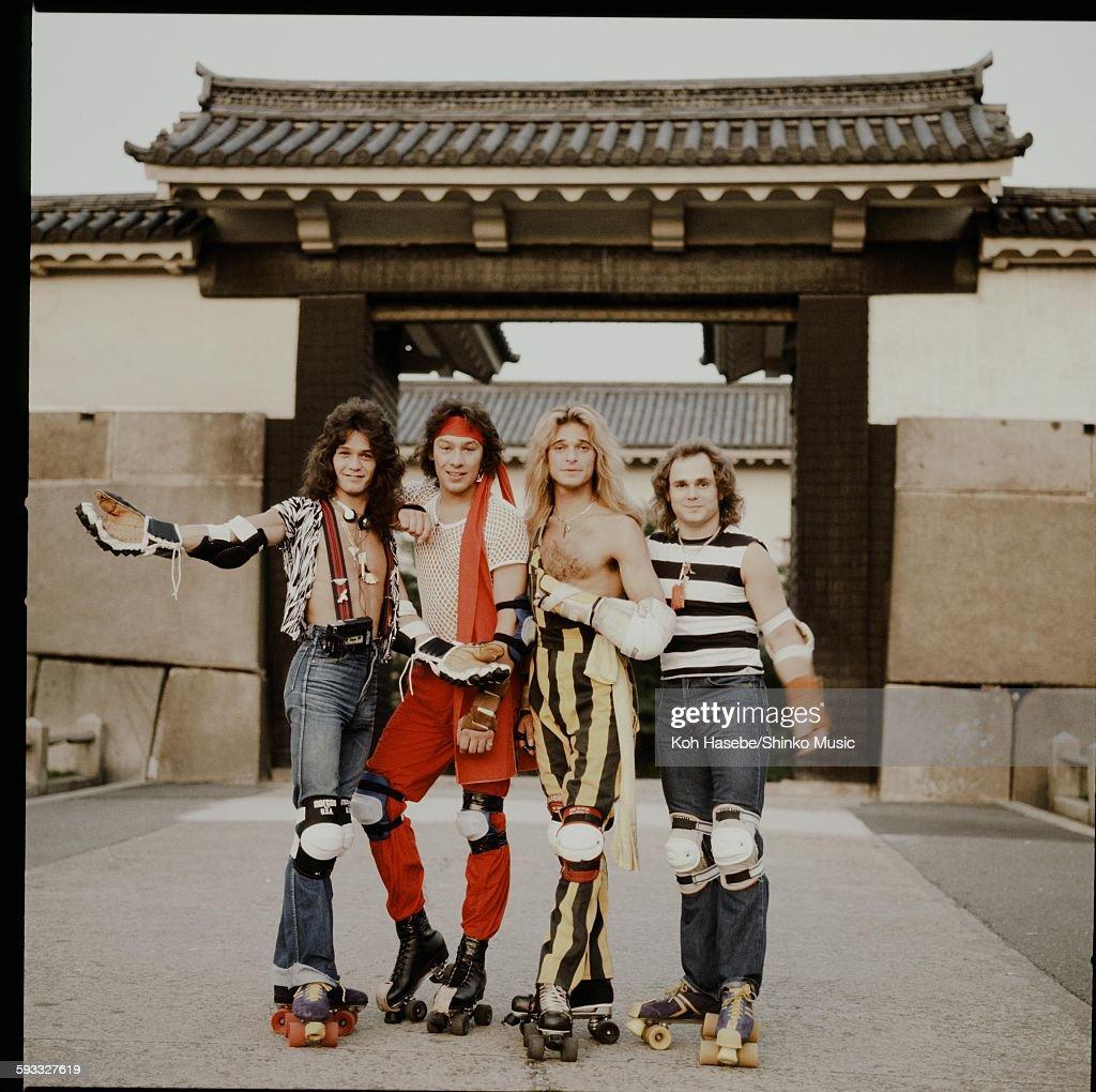 Van Halen Striking Poses Wearing Roller Skates : News Photo