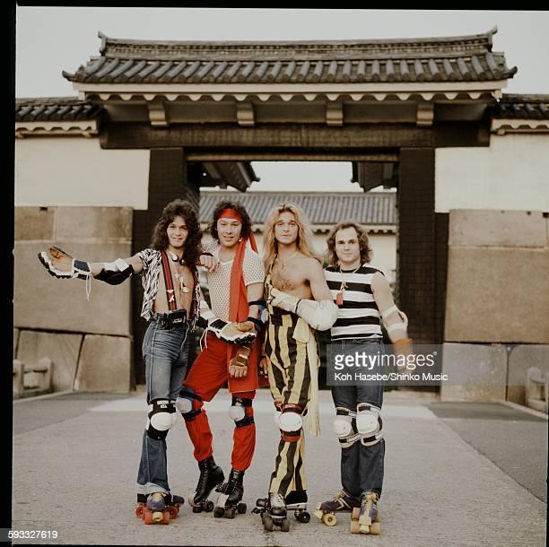 Van Halen posing with roller skates in the Osaka Castle Park Osaka September 1979