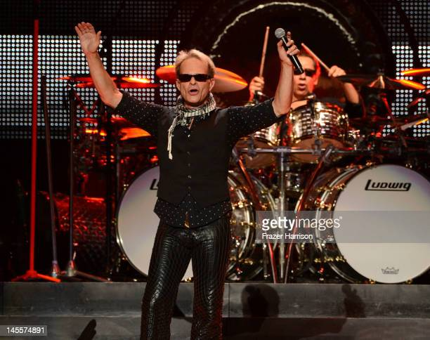 Van Halen singer Dave Lee Roth and drummer Alex Van Halen perform as part of their 2012 North American tour at Staples Center on June 1 2012 in Los...