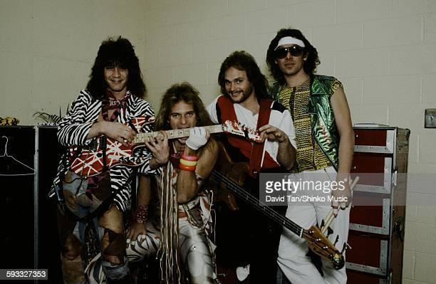 Van Halen waiting for the show in the dressing room with guitar and bass in the United States unknown 1979
