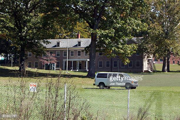 A van is parked on the grounds near a building at the Alderson Federal Prison Camp where Martha Stewart turned herself October 8 2004 in Alderson...