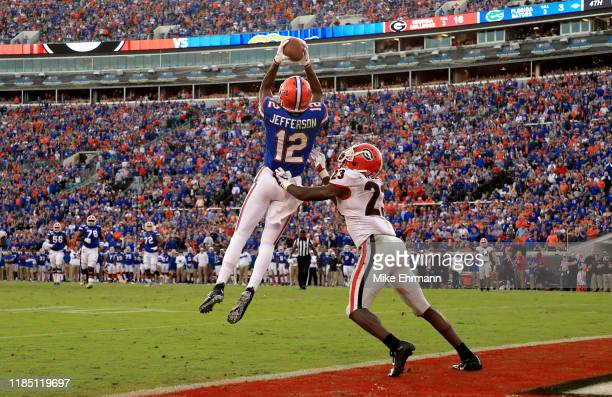 Van Jefferson of the Florida Gators scores a touchdown during a game against the Georgia Bulldogs on November 02, 2019 in Jacksonville, Florida.
