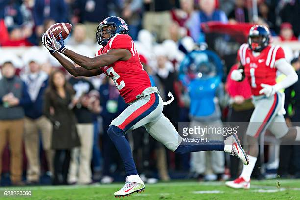Van Jefferson of the Mississippi Rebels drops a pass during a game against the Mississippi State Bulldogs at VaughtHemingway Stadium on November 26...