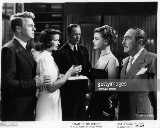 Van Johnson and Adolphe Menjou look at each other as Katharine Hepburn and Angela Lansbury face off in a scene for the film 'State Of The Union' 1948