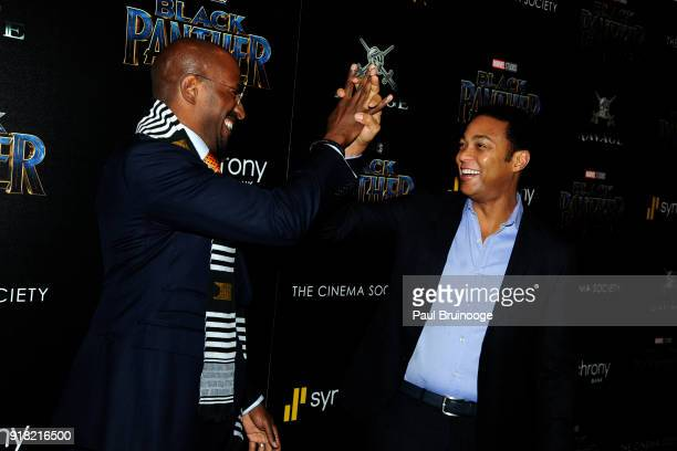 Van Jones and Don Lemon attend The Cinema Society with Ravage Wines Synchrony host a screening of Marvel Studios' 'Black Panther' at The Museum of...