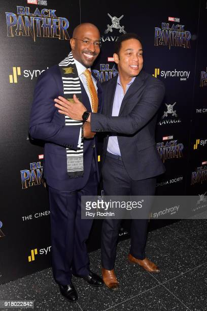 Van Jones and Don Lemon attend the screening of Marvel Studios' 'Black Panther' hosted by The Cinema Society on February 13 2018 in New York City