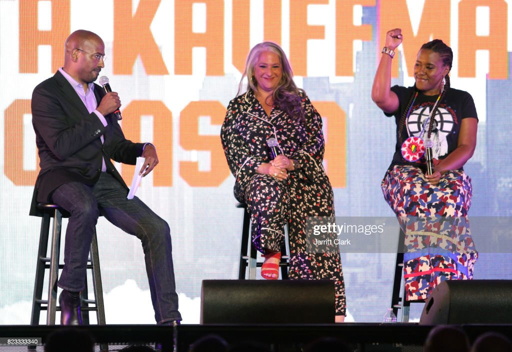Van Jones, Marta Kauffman and YoNasDa LoneWolf speak during VAN JONES WE RISE TOUR powered by #LoveArmy at Hollywood Palladium on July 26, 2017 in Los Angeles, California.