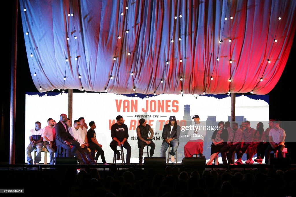 Van Jones, Nnamdi Asomugha, Nick Cannon, Shaka Senghor and Russell Simmons speak during VAN JONES WE RISE TOUR powered by #LoveArmy at Hollywood Palladium on July 26, 2017 in Los Angeles, California.